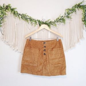 ALTAR'D STATE Brown Corduroy Button Front Ribbed Mini Cotton Skirt sz L